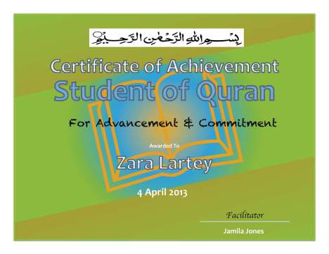Certificate Zara Lar